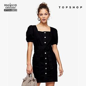 TOPSHOP - Đầm mini denim cổ vuông tay ngắn Button Through Puff 05P37QWBK-410