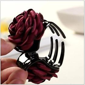 Kẹp tóc càng cua 3 răng đính hoa hồng vải Hàn Quốc