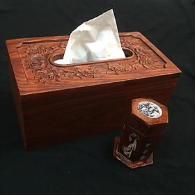 Hộp đựng giấy gỗ hương tặng kèm ống tăm khảm chai - Hộp đựng giấy đa năng - kiểu dáng gọn gàng thiết kế cổ điển của làng nghề Nhị Khê