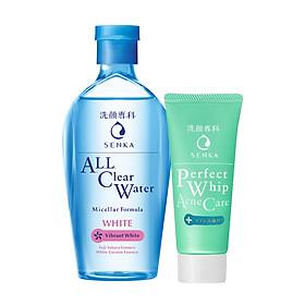Combo Nước tẩy trang dưỡng trắng Senka All Clear Water Micellar Formula White 230ml + Sữa rửa mặt dành cho da mụn Senka Perfect Whip Acne Care 50g