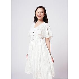 Đầm bi trắng tay cánh tiên Dottie White Dress Maybi