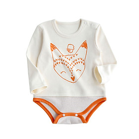 Bo Ruien pureborn newborn onesies spring and autumn clothes baby clothes men and women baby triangle romper beige 59cm / 0~3 months