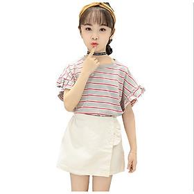 Set bộ áo thun và quần giả váy kaki cho bé gái đi chơi dự tiệc phong cách Hàn Quốc từ 13-38kg BBG002
