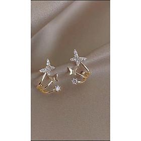 Bông tai bạc ta hồ điệp, Khuyên tai bạc ta con bướm xinh nạm đá-Minh Tâm Jewelry