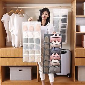 Túi đựng đồ lót, tất vớ 2 mặt nhiều ngăn có móc treo