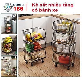 Kệ sắt nhiều tầng có bánh xe để đồ dùng nhà bếp, kệ đựng rau củ, hoa quả, trái cây, gia vị, đồ dùng nhà bếp