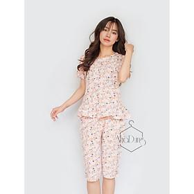 Đồ bộ mặc nhà đồ bộ lửng nữ basic lụa cao cấp in họa tiết hoa nhí dễ thương Nhã Dung Store siêu mát đủ size dưới 70kg
