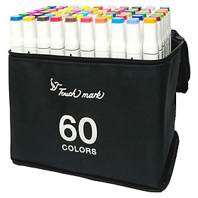 Hộp 60 Bút Lông Màu Touch 2 Đầu Thân Trắng 22-60