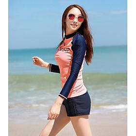 Đồ bơi nữ dài tay bikini kín đáo đi biển mùa hè quần bơi cạp cao DTPI