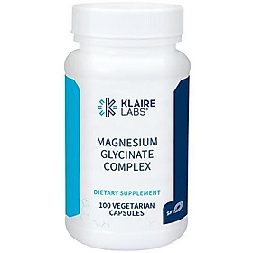 Klaire Labs Magnesium Glycinate Complex - 100 mg Bisglycinate Chelate Blend - High Absorption - Supports Bone Density and Magnesium Levels - Gluten Free & Hypoallergenic (100 Capsules)