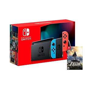 Máy Chơi Game Nintendo Switch Với Neon Blue-Game Zelda Breath of the Wild-MODEL 2019-HÀNG NHẬP KHẨU