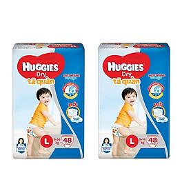 2 Gói Tã Quần Huggies Dry Gói Đại L48 (48 Miếng) - Bao Bì Mới