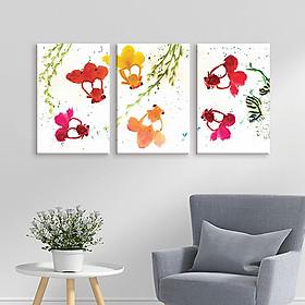 Bộ 3 Tranh Trang Trí Họa Tiết Hoa Vẽ Tay - W180
