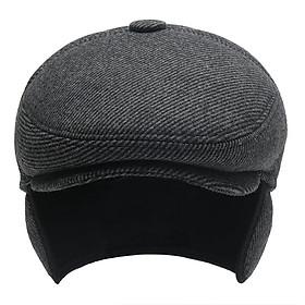 Mũ Beret Nam Trung Niên Đẹp, Chất Liệu Dày Dặn, Có Tai Che LTM-012