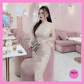 Váy Thiết Kế Body Kim Sa, Váy body kim sa lệch vai đẳng cấp và quyến rũ trên từng bước đi - H&N Store