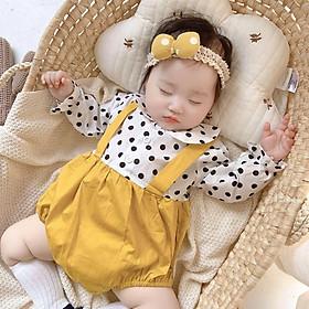Body dài tay cho bé sơ sinh bé gái, body yếm chấm bi kèm tuban cài đầu cho bé từ sơ sinh đến 1 tuổi