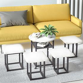Bộ bàn ghế xếp gọn thông minh 4 ghế thu gọn vào trong chân bàn nếu không dùng tiện ích - Hàng chính hãng