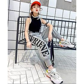 Bộ quần áo thời trang thể thao cho bé gái, áo body lửng kết hợp quần dài - Quần áo trẻ em - SockiMall (200544)