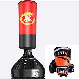 Combo Bao trụ đấm bốc kickboxing + mma + muay tự đứng + Găng tay đấm bốc boxing BN - Thiết bị tập đấm bốc dành cho dân chuyên, phòng tập, võ đường