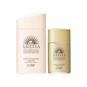 Bộ đôi Kem chống nắng dưỡng da dạng sữa dịu nhẹ cho da nhạy cảm & trẻ em SPF 50+ 60ml + Kem chống nắng dưỡng da dạng sữa bảo vệ hoàn hảo Anessa Perfect UV Sunscreen Skincare Milk SPF 50+ PA++++ 20ml