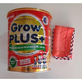 Nutifood GrowPLUS+ Đỏ 1500 Gr : sữa dành cho trẻ từ 1- 10 tuổi bị suy dinh dưỡng thấp còi tặng khăn mặt vải cotton mềm mịn cho bé