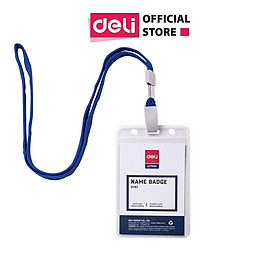 Bảng tên 68×95mm Deli, trong suốt, dây đeo màu xanh nước biển - 2 chiếc - E5757