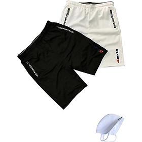 Combo 2 Quần shorts thể thao nam dạng sọt sport đùi chất thun lạnh 4 chiều cao cấp phù hợp tập gym hay mặc nhà màu trắng và đen DUI-P101 - tặng 1 khẩu trang chống nắng