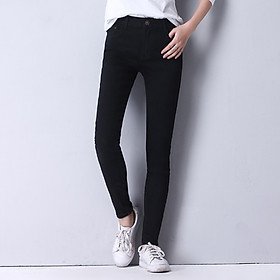 High waist slimming plus size jeans women's breasted Korean style stretch slim fat sister 200 kg plus size trousers (14)
