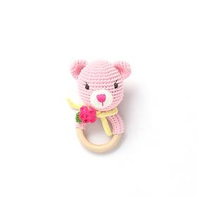 Lục lạc gỗ Thú bông bằng len Mèo Suri hồng - sản xuất thủ công handmade in Việt Nam - chất liệu 100% cotton, hàng chính hãng xuất khẩu - May's Hand (12cm), đồ chơi an toàn cho trẻ em đến mọi lứa tuổi