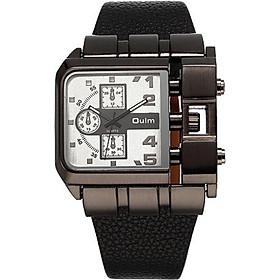 OULM Luxury Quartz Watch Men Square Dial Leather Band Watches Male Antique Wristwatch