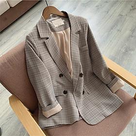 Áo Khoác Vest, Blazer Nữ Sọc Caro Oversized