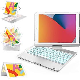 Bàn phím Bluetooth xoay 360 độ cho iPad Gen 8 (10.2 inch) - Bàn phím LED 7 màu sống động - Chính hãng PKCB