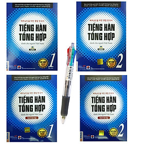 Combo Tiếng hàn tổng hợp dành cho người việt nam - Bản in màu 2019( Tập 1+2 + bài tập 1+2 ) + Tặng kèm bút bi 4 màu diêu đẹp