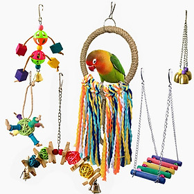 6Pcs Parrot Toy Bird Toy Funny Assorted Bite Resistant Bird Cage Toy Set Colorful Swing Hanging Ring Chew Toy