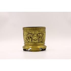 Bát Hương Bằng Đồng Thau Đúc Công Nghệ 2 Màu Vàng Đậm Đk 16cm