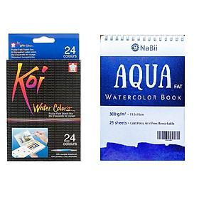 TẶNG SỔ VẼ MÀU NƯỚC - Màu nước nén Koi water colors Sakura 24 màu chuyên nghiệp - Tặng sổ vẽ màu nước Aqua Nabii A5