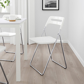 Ghế gấp màu bạc / trắng NISSE Folding chair silvercolour/white IKEA