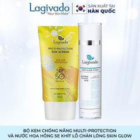 Bộ đôi Kem chống nắng Hàn Quốc Lagivado Multi-Protection 30 g và nước hoa hồng Skin Glow Toner 120 ml