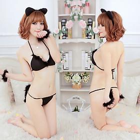 Sét đồ lót cosplay mèo đen