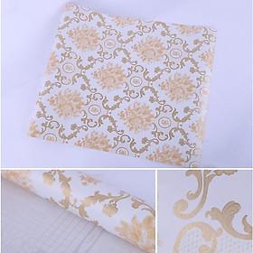 Combo 10m giấy dán tường Hoa văn vàng 002 có keo sẵn
