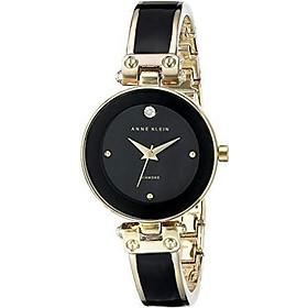 Đồng hồ nữ Anne Klein Women's Diamond-Accented Bangle Watch - Black/Gold
