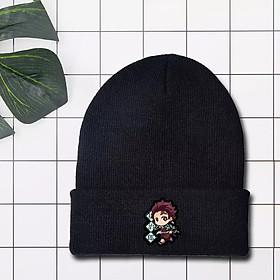 Mũ len đen in hình KIMETSU NO YAIBA - THANH GƯƠM DIỆT QUỶ anime chibi