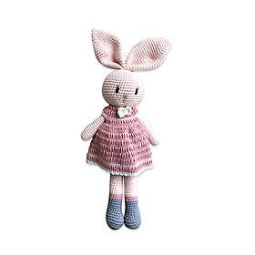 Thú bông bằng len Thỏ Lily Cheri hồng đầm hồng - sản xuất thủ công handmade in Việt Nam - chất liệu 100% cotton, phù hợp mọi lứa tuổi