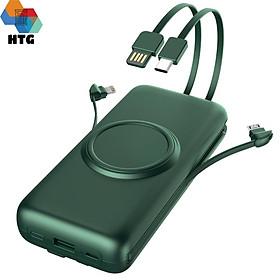 Pin Sạc Dự Phòng CYKE P1 Plus 20.000 mAh hỗ trợ sạc nhanh QC 2.0A, tích hợp dây sạc cùng sạc không dây, 4 cổng output, 2 cổng input, hàng chính hãng