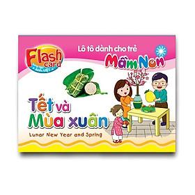 Combo 10 Hộp Flash card song ngữ Anh Việt - Lô tô cho trẻ mầm non - Chủ đề: Tết và Mùa xuân