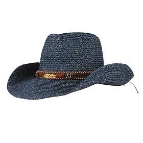 Unisex Western Style Straw Cowboy Cowgirl Hat Wide Brim Sun Hat Khaki