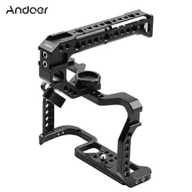 Andoer Aluminum Alloy Camera Cage + Top Handle Kit Replacement for Canon EOS R5 R6 DSLR camera with 1/4 Inch Screw Holes