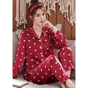 Đồ bộ mặc nhà pijama Nữ phi bóng chấm trái tim nhỏ gắn kết yêu thương-88216