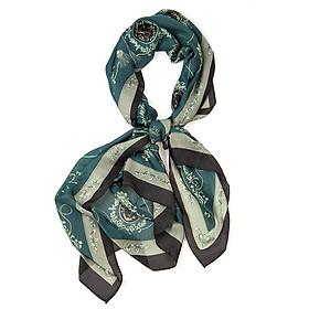 Khăn Choàng Cổ Lụa Họa Tiết Thắt Nút Màu Xanh Cổ Vịt - Silk - 180x90cm - Mã KS061