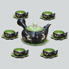 Bộ ấm chén men thủy tinh Hồ Lô gốm sứ Bát Tràng (bộ bình uống trà, bình trà)